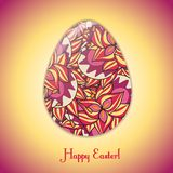 Easter egg greeting card with abstract hand drawn ornament. Stock Photos