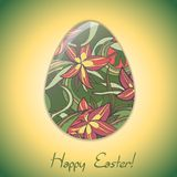 Easter egg greeting card with abstract hand drawn ornament. Royalty Free Stock Photo