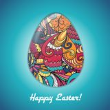 Easter egg greeting card with abstract hand drawn ornament. Royalty Free Stock Photography