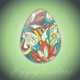 Easter egg greeting card with abstract hand drawn ornament. Royalty Free Stock Photos