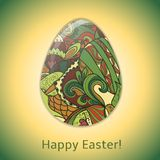 Easter egg greeting card with abstract hand drawn ornament. Stock Images
