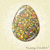 Easter egg greeting card feather ornament Stock Photography