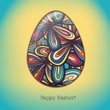 Easter egg greeting card hand drawn ornament Stock Photo