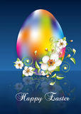 Easter egg greeting card. Easter rainbow egg apple flowers and words Happy Easter on dark background, high resolution 3D image Stock Photos