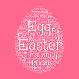 Easter egg greeting card with word cloud. Composed of Happy Easter, Holiday, Egg, Christianity tags. Easter greeting card and spring holiday festive poster Royalty Free Stock Photography