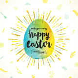 Easter egg with greeting Stock Images