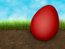 Easter egg on the ground Stock Images
