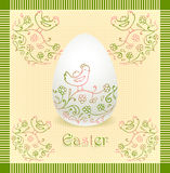 Easter egg with hand drawing beige green color Royalty Free Stock Photos
