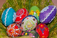 Easter egg, hand painted beautiful, colorful Stock Photos