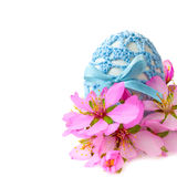 Easter egg in handmade decor with cherry flowers, Royalty Free Stock Photo