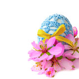 Easter egg in handmade decor with flowers,  Stock Photography