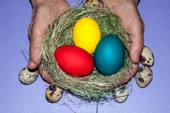 Easter egg in the hands of an elderly person. Stock Photo