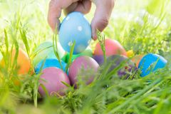 Easter egg ! happy colorful Easter sunday hunt holiday decorations Easter concept backgrounds with copy space Royalty Free Stock Images