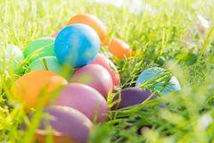 Easter egg ! happy colorful Easter sunday hunt holiday decorations Easter concept backgrounds with copy space Stock Image