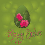 Easter egg. Happy easter poster, one green flory egg on a green background Royalty Free Stock Photo