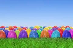 Easter egg harvest. On sky background Royalty Free Stock Photography