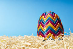 Easter egg in hay Royalty Free Stock Images