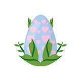 easter egg heart decoration and green leaves Royalty Free Stock Images