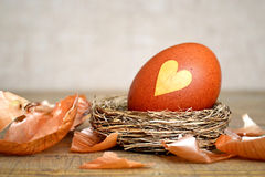 Easter egg with heart shape on it Royalty Free Stock Photo