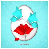 Easter egg on heavenly sky-blue color background with two blue butterflies, flower tulip, poppy or rose with falling. Petal and holiday congratulation. Oval Royalty Free Stock Photos