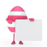 Easter egg hold billboard. Pink easter egg hold a white billboard Stock Images