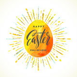 Easter egg with holiday greeting Stock Photo