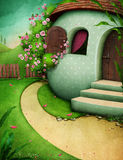 Easter egg house. Festive greeting card with  rural house Egg and  beautiful landscape. Computer graphics Stock Photo