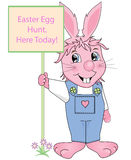 Easter Egg Hunt. Sign being held be the Easter Bunny vector illustration