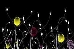 Easter Egg Hunt. Easter Egg design between foliage on a black background Royalty Free Stock Photos
