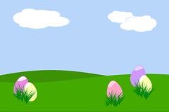 Easter egg hunt. Five pastel colored Easter eggs hidden behind tufts of grass royalty free illustration