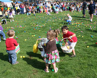 Easter Egg Hunt. In El Segundo California, 3 and 4 year old children hunting Easter Eggs, April 11, 2009 Royalty Free Stock Photo