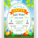 Easter egg hunt announcing poster template with colorful eggs at green lawn and. Text customized for invitation with details about the date, time, location Royalty Free Stock Photos