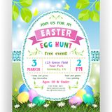 Easter egg hunt announcing poster template. Text customized for invitation with details about the date, time, location. Colorful eggs at green lawn with daisies Stock Image