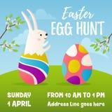 Easter egg hunt banner design. Vector illustration, spring landscape with cartoon rabbit character and Easter eggs. Egg hunt banner design Stock Photography
