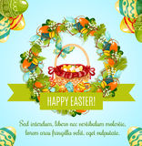 Easter egg hunt basket with flowers greeting card. Easter egg hunt basket greeting poster. Easter egg and wicker basket framed by spring floral wreath of lily Stock Photography
