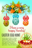 Easter egg hunt basket holiday poster design. Easter egg hunt festive poster. Easter egg hunt basket on green grass and painted Easter egg with ribbon bow Stock Photos