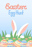 Easter egg hunt calligraphic inscription. White rabbit with paws and pink ears hiding in the grass. Stock Images
