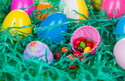 Easter Egg Hunt with Candy Royalty Free Stock Images