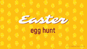 Easter egg hunt card, seamless vector pattern. With funny chicks, holiday background royalty free illustration