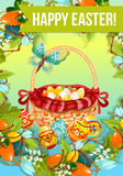 Easter egg hunt cartoon poster or greeting card. Easter egg hunt cartoon poster. Painted Easter eggs in wicker basket, decorated by red ribbon, flowers of lily Stock Photo