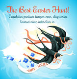 Easter Egg Hunt cartoon poster with swallow bird Royalty Free Stock Photos
