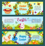 Easter egg hunt celebration cartoon banner set. Easter egg hunt cartoon banner. Painted Easter egg with rabbit bunny and chicken on green grass, spring flowers Stock Images