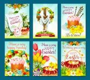 Easter egg hunt celebration cartoon poster set Stock Image