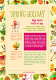 Easter Egg Hunt celebration poster template design. Easter Egg Hunt celebration cartoon poster template. Spring holidays information banner, supplemented with Stock Photos