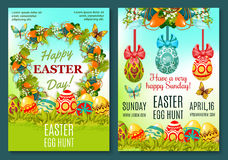 Easter Egg Hunt celebration poster template set. Easter Egg Hunt poster template. Easter eggs hidden in green grass banners, adorned by floral wreath of lily and Royalty Free Stock Photos