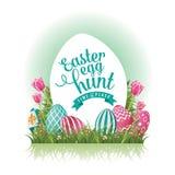 Easter egg hunt design EPS 10 vector. Royalty free stock illustration for greeting card, ad, promotion, poster, flier, blog, article stock illustration