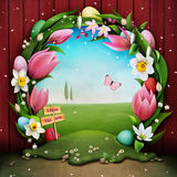 Easter egg hunt. Festive greeting card Easter egg hunt with floral wreath and green landscape. Computer graphics vector illustration