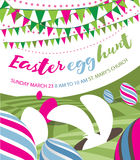 Easter egg hunt flat design with bunny, bunting and easter eggs Royalty Free Stock Photo