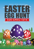 Easter Egg Hunt Flyer Template Design. Easter Egg Background with Big Painting Egg on Grass. Fit for 4x6 inches media. Vector illustration stock illustration
