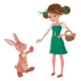 Easter egg hunt. Girl and bunny friends Stock Images